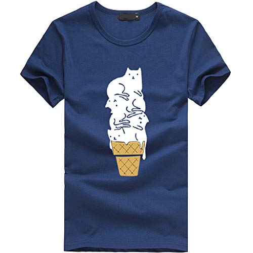 Women's Tops Miuye Summer Cute Cat Print Tops Short Sleeve T-Shirts Blouse Tunic Graphic tees Tanks (XXL, Navy)]()