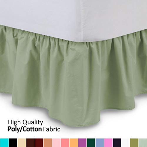 Shop Bedding Ruffled Bed Skirt (Twin, Sage) 14 Inch Drop Dust Ruffle with Platform, Wrinkle and Fade Resistant - by Harmony Lane (Available in All Bed Sizes and 16 Colors)