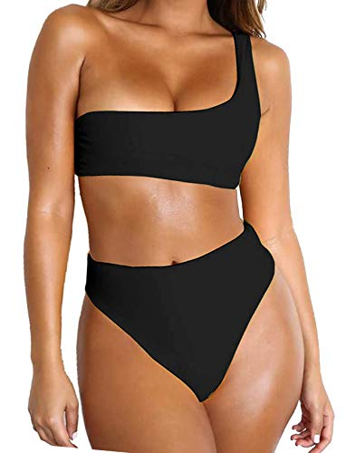 FITTOO Women Bandeau 2 Piece Set Bikini Set Crop Top Solid Color Strapless Plus Size Swimsuit High Waist XL
