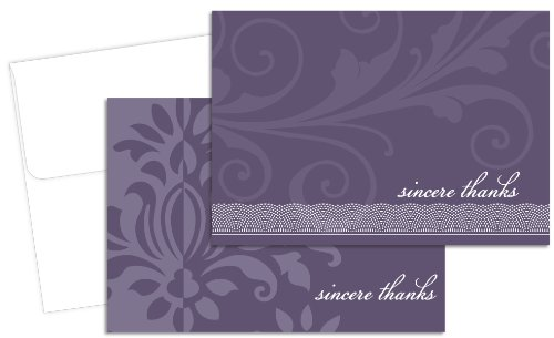 Hortense B. Hewitt 24 Count Amethyst Flourish Sincere Thanks Note Cards