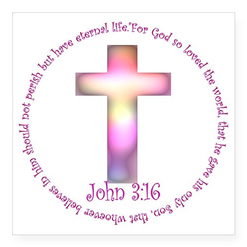(CafePress John 3:16 Square Sticker 3