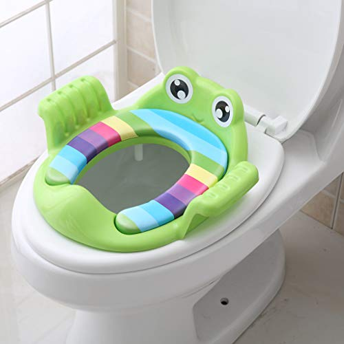 CapsA Toilet Training Potty Seats,Cartoon Frog Toilet Seat for Kids Toddlers Boys Girls with Cushion Handle Toilet Trainer Adjustable Training Chair (Green)