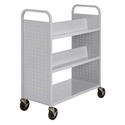(Sandusky Lee SVF336-MG Combination Bottom Flat Shelf Book Truck, 19