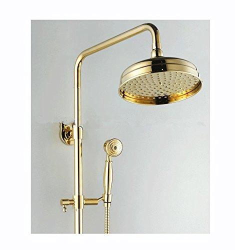 GOWE Luxury Brass Rainfall Shower Set, Gold Color Shower Bar, Wall Mounted Shower Column 1