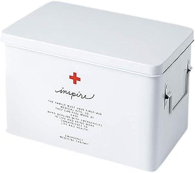 AYHa La caja médica de almacenamiento caja de metal Botiquín de primeros auxilios portátil multi-función de dos llaves, con bandeja desmontable. Los mangos dobles son fáciles de llevar a casa para gu: