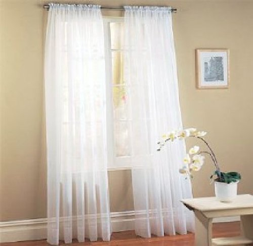 See Through Voile Panel/curtains/drapes;40w X 84L Two Panels Per Package