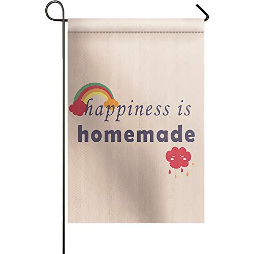 DCGARING Home Decorative Double Sided Happiness is Homemade Garden Flag House Yard Flag Garden Yard Decorations Home Seasonal Outdoor Flag 12''x18'' ()