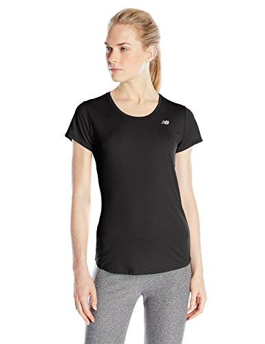 New Balance Women's Accelerate Short Sleeve Tee, Black, Large
