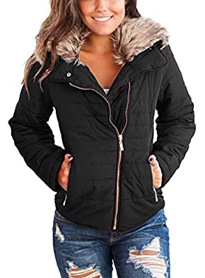 Dokotoo Womens Faux Fur Collar Zip Up Quilted Jacket Coat Outerwear