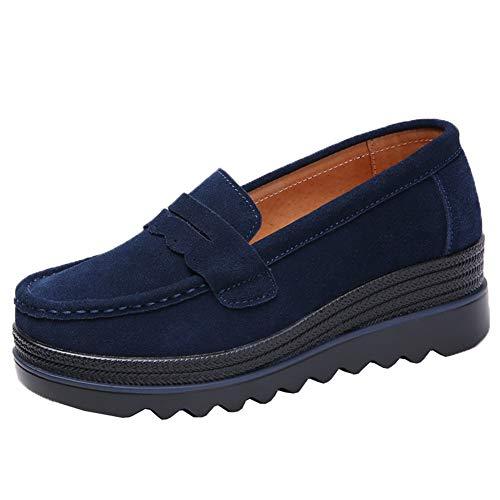Women's Fringed Slip On Loafers Shoes Ladies Leather Dress Pumps Platform Mid Heel Navy Blue