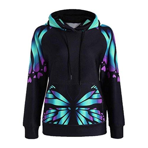Butterfly Sweater (New!! Women Hoodie Pullover,Lelili Fantastic Butterfly Printed Long Sleeve Hooded Sweatshirt Outwear Tops Jacket (M, Green))