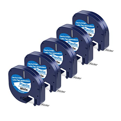 (5 Pack Replace Dymo Letratag Refills Plastic Dymo 12mm x 4m Label Tape 91331 (S0721660), Black on White Compatible DYMO Label Maker LetraTag LT-100H, LT-100T, LT-110T, QX50, 1/2 Inch x 13 Feet)