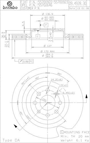 SMC 09.4939.34 /& P23087-7 Kit Dischi Freno e Pastiglie Anteriore