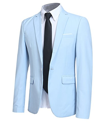 YFFUSHI Men Slim Fit One Button Blazer Jacket Casual/Party Sport Coat,Light Blue,Small