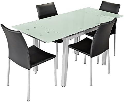 Mesa de comedor extensible de cristal esmerilado: Amazon.es: Hogar