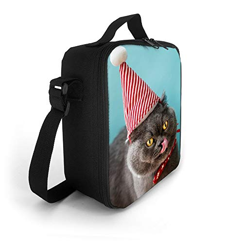SARA NELL Kids Lunch Backpack Lunch Box Animal Blue Bow Tie Cat British Shorthair Lunch Bag Large Lunch Boxes Cooler Meal Prep Lunch Tote With Shoulder Strap For Boys Girls Teens Women Adults ()