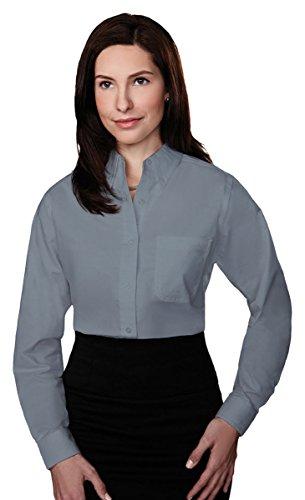 Tri Mountain Womens 60 40 Stain Resistant Long Sleeve Oxford Shirt  742Tm   Dark Gray Xl