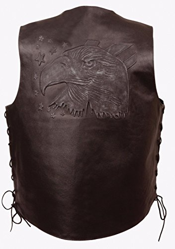 Mens Star Leather Vest (MEN'S MOTORCYCLE BROWN EAGLE HEAD & STARS EMBROIDERED LEATHER VEST W/SIDE LACES (3XL Regular))