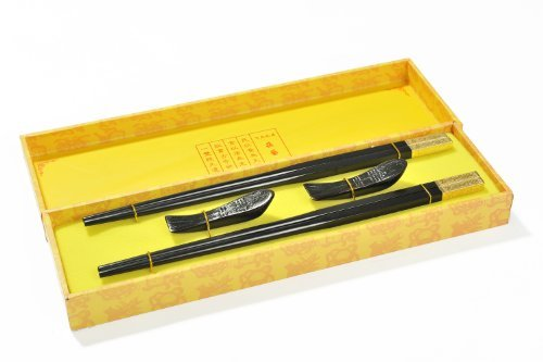 "UPC 799975632834, Decorum ""Golden dragon"" - Fine set of chopsticks made of ebony in gift box (2 pairs of chopsticks and chopstick rests). Dimensions: 26,5cm x 7,5cm x 3cm - CS-EW-S2-01 US"