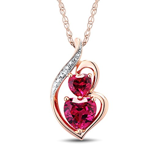 10k Rose Gold Lab Created Ruby Heart Necklace with Diamond Accent - 18 Inch Rope Chain ()