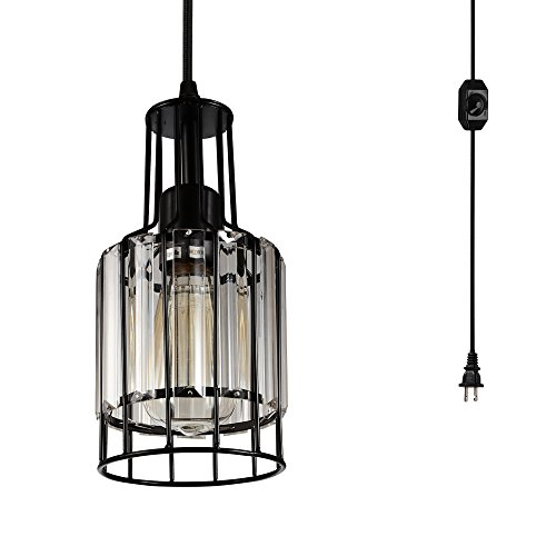 Creatgeek Plug in Industrial Pendant Light Fixture with 16 Ft Cord and in-Line On/Off Dimmer Switch, Unique Swag Hanging Crystal Lamp for Bar, Night Stand, Kitchen Island, Dining Room, Entryway