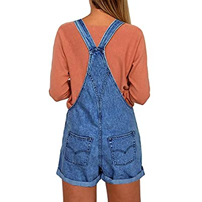 Vetinee Women's Classic Adjustable Straps Cuffed Hem Denim Bib Overalls Shorts: Clothing