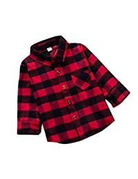 Baby Boys Plaid Shirt Girl Cotton Plaid Shirt Kids Red Plaid Blouse Baby Girl Autumn Tops Toddler Casual Blouse