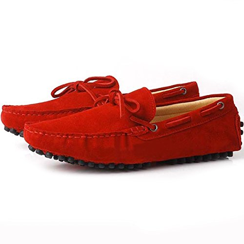 Fulinken Suede Leather Moccasin Mens Slip on Loafers Casual Shoes Driving Shoes Red Civ150