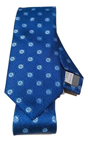 New Men's 2019 Canali Blue Floral Medallion Motif Italian Silk Tie