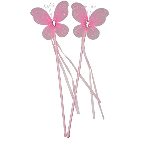 Twirling Costumes Used (Bilipala Pink Butterfly Wands Fairy Princess Magic Wand for Kids Birthday Baby Shower Party Supplies, 2 Counting)