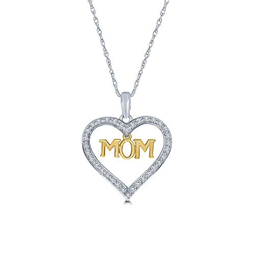 La Joya 14k Yellow Gold 925 Sterling Silver 1/10ct Round White Diamond Mom Tag Heart Pendant Necklace for Mom Womens ()