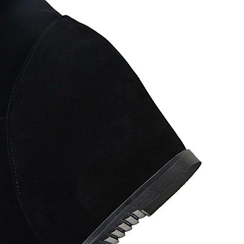 Rond Bottes Femmes Noir Solides Daim Bout Talons Fermé Enfiler Imités Des Allhqfashion En hauts De À FvYOAq1w