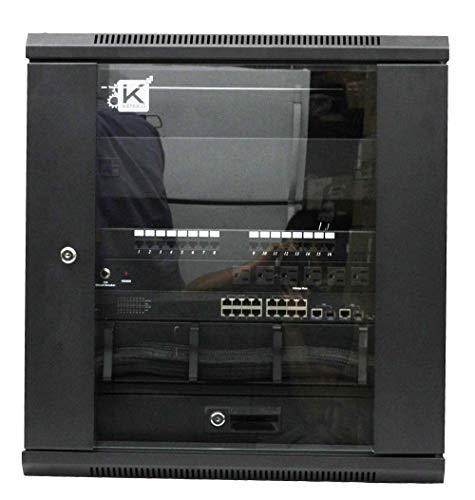 12U, Black Kenuco Wall Mount Rack Server Cabinet Data Network Enclosure 19-Inch Server Network Rack with Locking Glass Door