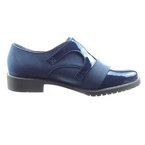 Sopily - Zapatillas de Moda Mocasines bimaterial Tobillo mujer patentes Talón Tacón ancho 3 CM - Azul