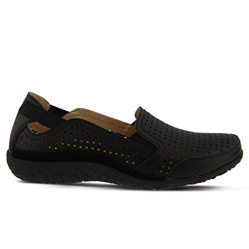 Women's Spring On Perforated Juhi Leather Step Grain Slip Black Full ORRgA