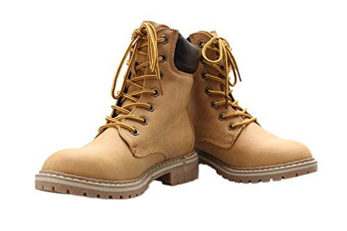 3 10 Womens Broadway Outdoor B M Padded Boots Short Lace Ankle Camel Work Shoes Up US Forever Combat Og5Ewgq