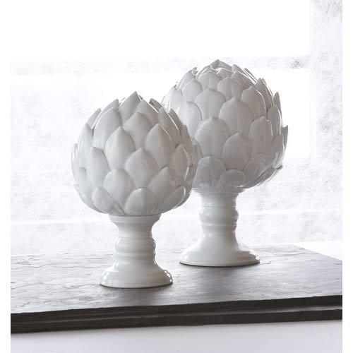 Two's Company La Vie en Blanc Artichoke Sculptures, Porcelain, Set of 2