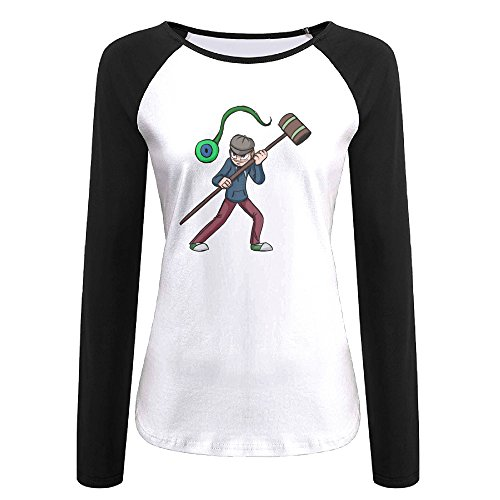 Creamfly Womens Jacksepticeye Long Sleeve Raglan Baseball Tshirt (King Kai Costume)