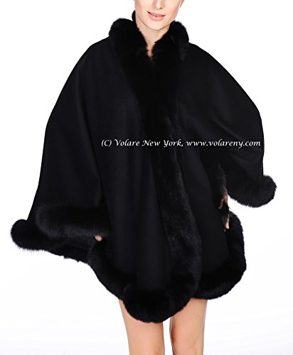 Cashmere Shawl Wrap Cape with Fox Fur Trim (black)