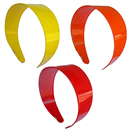 Set of Three 2 Inch Red Orange & Yellow Wide Plastic Headbands with Teeth