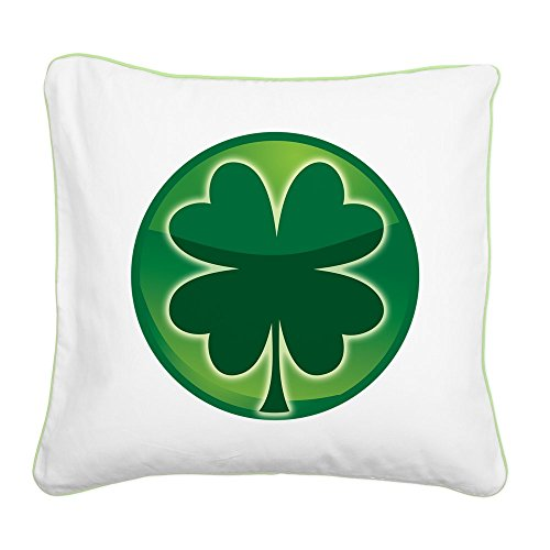 Square Canvas Throw Pillow Key Lime Shamrock Four Leaf Clover - Clover Ends Cross