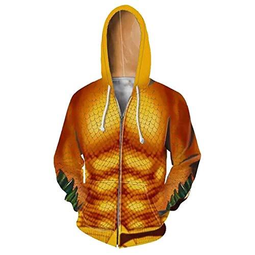 Difanduo New Aquaman Costume Sweatshirts 3D Printing Zipper Hooded Men Cosplay Hoodies 2 5XL]()