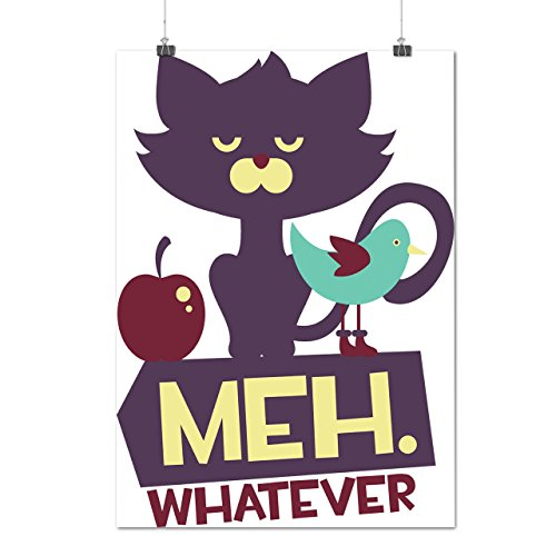 Meh Whatever Animal Cat Grumpy Meme Matte/Glossy Poster A4 (30cm x 21cm)   Wellcoda