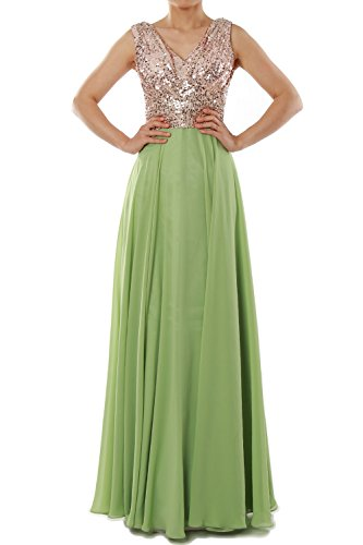 Evening Women Neck Long Dress Chiffon Gown Burgunderrot Bridesmaid Wedding Sequin MACloth V 4xwzdCC