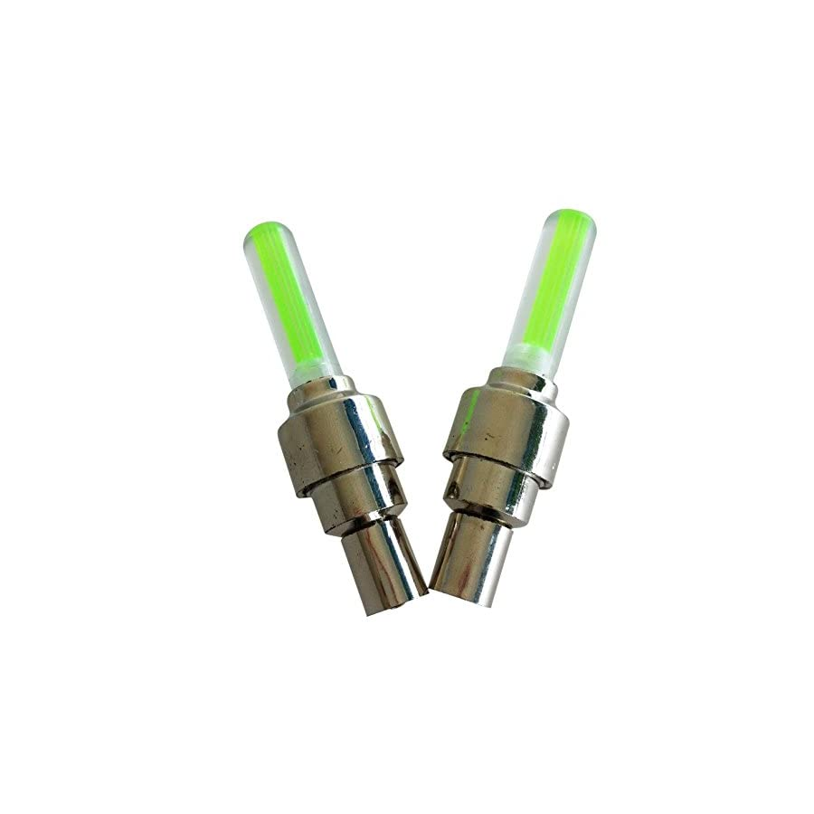 TOOGOO 2PCS Green LED Flash Tyre Wheel Valve Cap Light for Car Bike bicycle Motorbicycle Wheel Light Tire Light