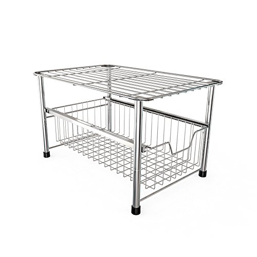 YOMYM Chrome Storage Drawer Rack Stackable Under Sink Cabinet Sliding Basket (1 Tire) - Large Bathroom Cabinet