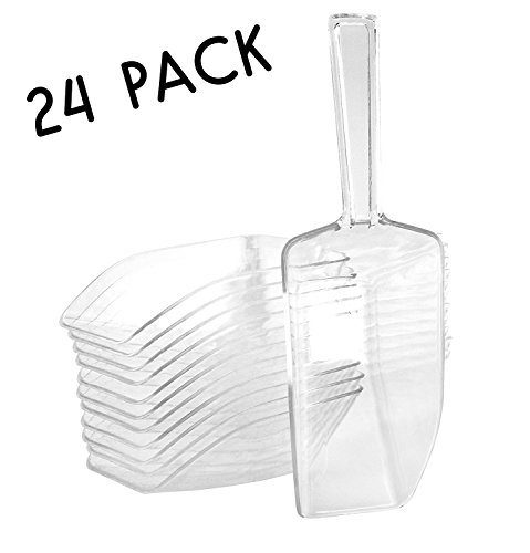 """7.25"""" Large Clear Acrylic Plastic Scoops (24-Pack); Use for Candy Bar, Snacks, Dry Goods, Popcorn, Buffet Party Serving & (Popcorn Buffet)"""