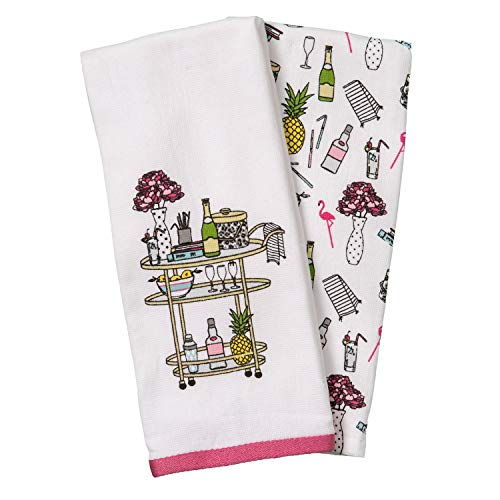ENVOGUE Classic Gold Serving Trolley Bar Cart Kitchen Towel Set of 2 Cotton Decorative Tea Towels for Dish and Hand ()