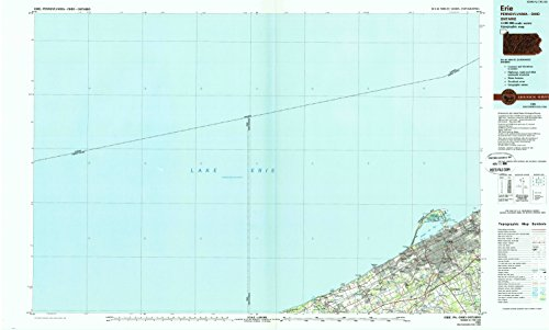 Erie PA topo map, 1:100000 scale, 30 X 60 Minute, Historical, 1988, updated 1989, 24.1 x 40.1 IN - - Millcreek Pennsylvania
