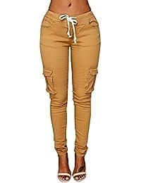 Womens Casual Stretch Drawstring Skinny Pants Cargo...